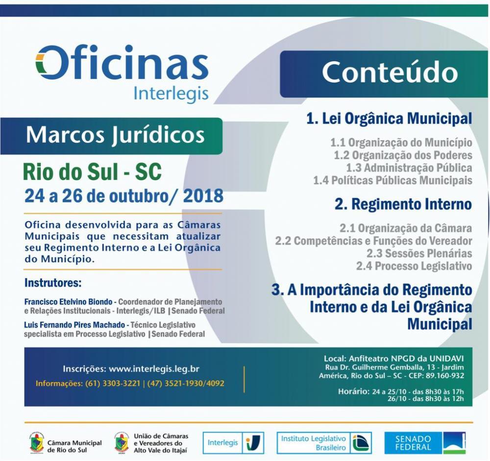 Convite - OFICINA SOBRE MARCOS JURÍDICOS-INTERLEGIS/UCAVI