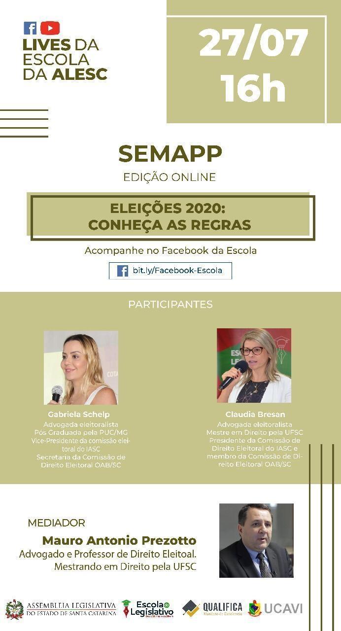Convite - PALESTRA SEMAPP - PARCERIA ESCOLA DO LEGISLATIVO E UCAVI